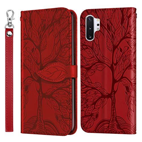 Miagon Prägung Lederhülle für Samsung Galaxy Note 10 Plus,Handyhülle Tasche Brieftasche Hülle Bookstyle Schutzhülle Flip Case Cover Klapphülle Kartenfächer,Baum Rot