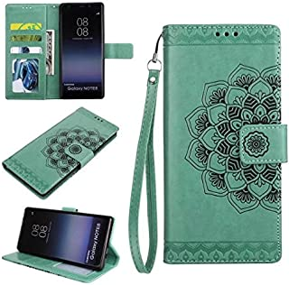 Protective Case Compatible with Samsung Embossed Half Flower Design [Wrist Strap] Premium PU Leather Wallet Pouch Flip Stand Case Compatible Samsung Galaxy Note 8 Phone case (Color : Green)