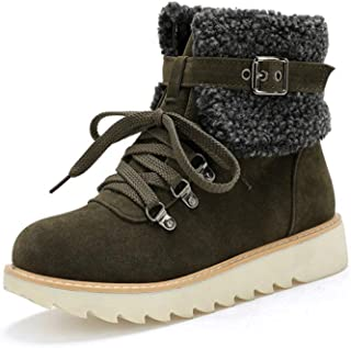 Women's Lace Up Short Snow Boot with Warm Fur Collar Fashion Buckle Strap Outdoor Flat Platform Ankle Booties
