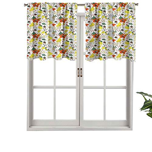 Hiiiman Premium Barra de bolsillo para ventana corta, paneles de cenefa, hojas de limón, juego de 1, 132 x 45 cm para baño y cocina