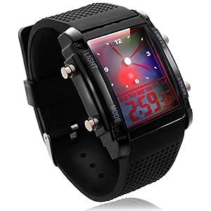 Catsobat 腕時計 デジタル LED防水腕時計 アナデジ式 電池セット済 男女兼用 (ブラック) 2019年版【メーカー30日保証付き】
