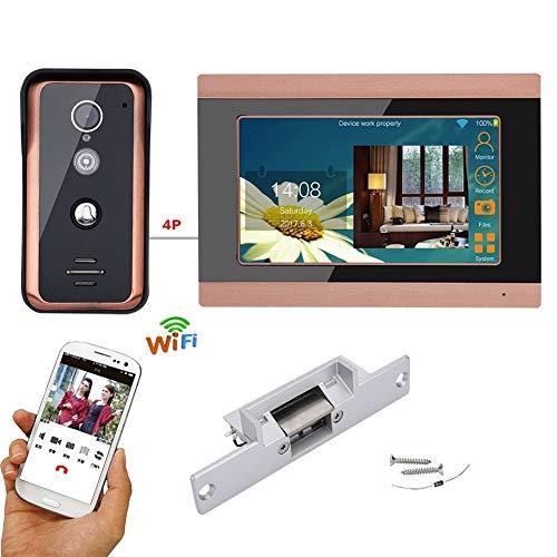 Portero pulgadas con cable Wifi video teléfono de la puerta del intercomunicador...
