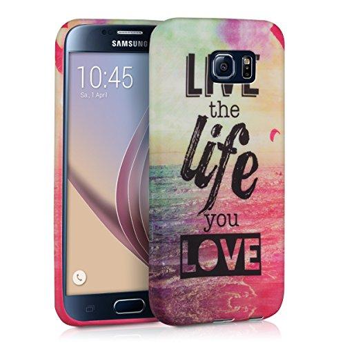 kwmobile Funda Compatible con Samsung Galaxy S6 / S6 Duos - Carcasa de TPU Live The Life You Love en Multicolor/Rosa Fucsia/Azul