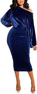 فستان Salimdy نسائي واحد بدون كتف متوسط الطول فستان مخملي طويل الأكمام ضيق للحفلات