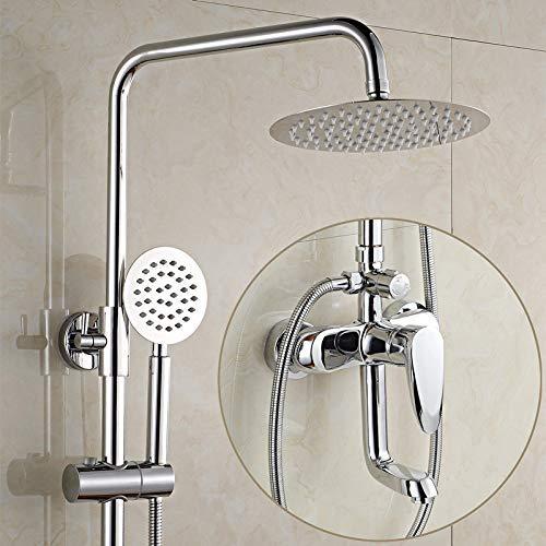 Alle drie koperen douchecabine doucheset badkamer wand voor het optillen van koud water waterkraan druk sprinkler regen douchen, K