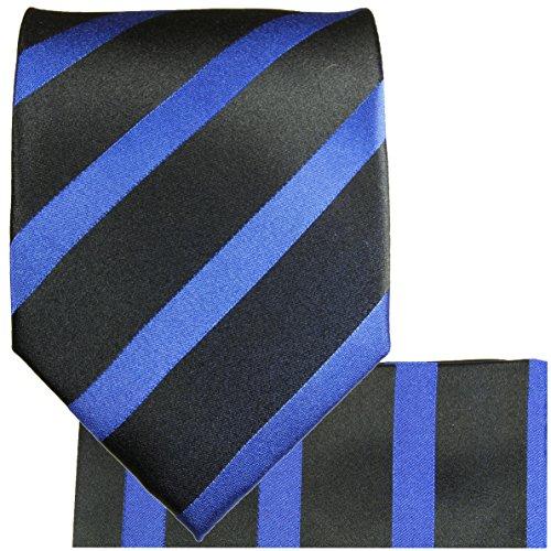 Cravate homme noire bleu rayé ensemble de cravate 3 Pièces ( longueur 165cm )