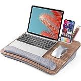 LORYERGO Lap Desk - Laptop Lap Desk, Fits up to 15.6' Laptop, Lap Desk for Laptop w/ Wrist Pad & Tablets/Cellphones Slot, Lap Desk with Cushion & Big Storage Packets, for Bed, Couch, for Adults & Kids