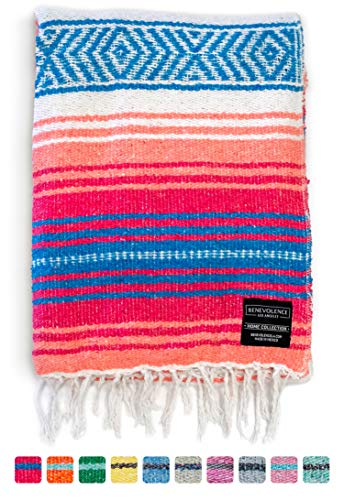 Mexican Blanket, Falsa Blanket | Authentic Hand Woven Blanket, Serape, Yoga Blanket | Perfect Beach Blanket, Navajo Blanket, Camping Blanket, Picnic Blanket, Saddle Blanket, Car Blanket (Coral)