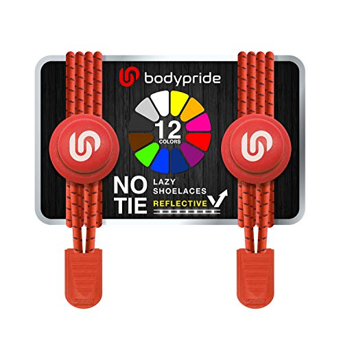 bodypride Premium Lazy Laces [ 12 Farben ] Elastische Schnellverschluss - Schnürsenkel ohne Binden | Schnellschnürsystem mit Reflektoren für Sport, Marathon, Triathlon, Kinder, Senioren | Rot