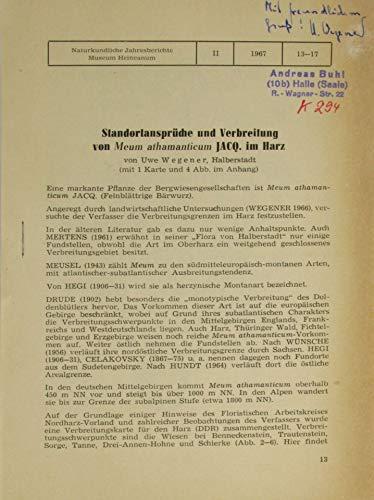 Standortansprüche und Verbreitung von Meum athamanticum Jacq. im Harz