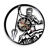 MASERTT Poseidone Mitologia Greca Nettuno Dio Orologio da Parete Mito Grecia Mare Dio Vinile Record Vintage Record Orologio Vintage Conchology Arte-Senza LED