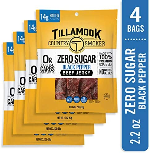 Tillamook Zero Sugar Black Pepper Keto Friendly Beef Jerky 4 Pack 8 8 oz product image