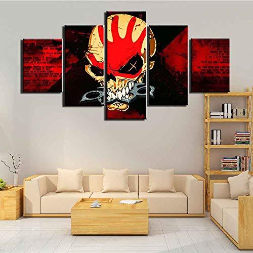 Impresión HD 5 piezas lienzo arte decoración imágenes calavera terror carteles pintura pared arte decoración del hogar para sala de estar(With Frame size)