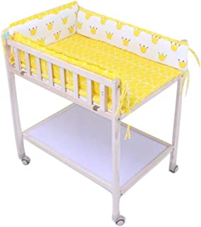 Diaper Massage Station Newborn Changing Table On Wheels,Baby Bathing Massage Baby Cot Foldable Changing Diapers Dresser with Pad Folding Massage Touch Table (Color : Yellow)