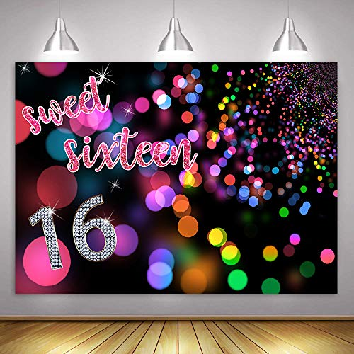 MME Fantasy Neon Disc Background Sweet 16 Birthday Party Large Size Seamless Backdrop Photo Booth Props (Vinyl-10x7ft)
