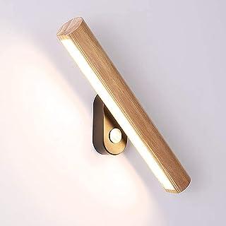 Lámpara de pared LED de madera moderna con interruptor giratorio Aplique depared interior Lámpara regulable de 4W Hall Lámpara de cama, para sala de estar dormitorio pasillo escalera
