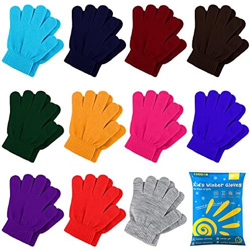TODDOR 12 Pairs Kid's Winter Gloves Children Magic Gloves Full Fingers Gloves for Boys or Girls