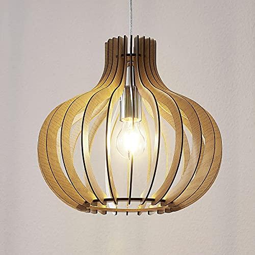 Lámpara colgante 'Sina' (Escandinavo) en Marrón hecho de Madera e.o. para Salón & Comedor (1 llama, E27, A++) de Lindby | lámpara colgante de madera, lámpara colgante, lámpara, lámpara de techo