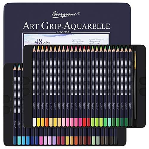 Professionelle Aquarellstifte, 48 Aquarell Buntstifte Set für Kinder oder Erwachsene, Wasserlösliche Farbstifte zum Mischen, Schichten und Aquarellieren