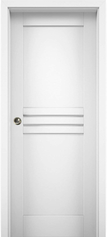 Sliding Pocket Door Regular store 42 x unisex 84 White inches Mela Silk 7444 Kit