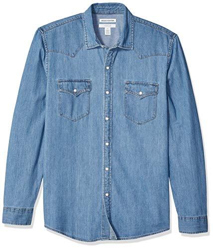 Amazon Essentials - Camisa de mezclilla ajustada y de manga larga para hombre, Azul claro, US XXL (EU XXXL - 4XL)