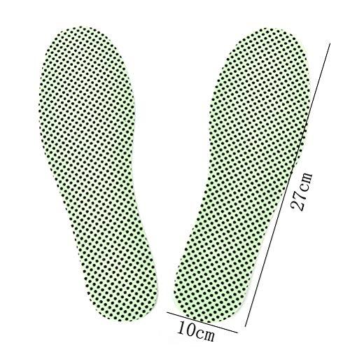 TLXOGBS 1Pair Winter Soles Natürliche Turmalin Selbsterhitzungseinlegesohlen Für Schuhe Beheizte Selbsterhitzungseinlegesohlen Warme Fußreflexzonen-EinlegesohlenGrün