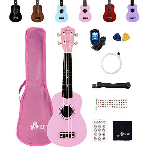 Winzz Ukelele Soprano Starter Kit para Principiante. Incluye: Funda, Afinador, Cuerdas Extra, Correa Ajustable, Púas, Pegatinas de notas, Guía de Acordes y Paño de pulido. Color: Rosa