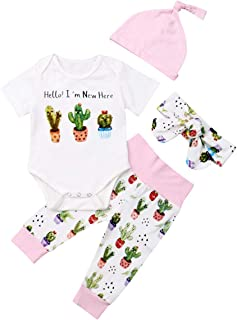 Fiomva 3Pcs/Set Newborn Baby Girl Boy Striped Long Sleeve Tops Pant Hat Outfits Clothes - Pink - 3-9 Months