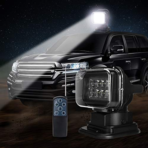 LED Spotlight LED Remote Search Light 12V 50W 360 degree LED Rotating Remote Control Work Light Spot for Hummer Off-road Vehicles PickupTrucks Car Boat SUV ATV Home Security Protection Emergency