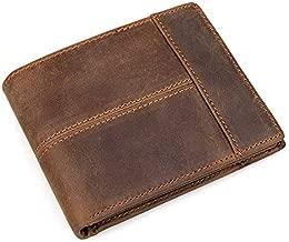 DUDUO-Bag Billetera de Hombre Billetera de Cuero Corta Diseño de Costura de Cuero de Capa Superior Retro Tendencia de Moda Adecuada for Viajes de Compras (Color : Brown, Size : S)