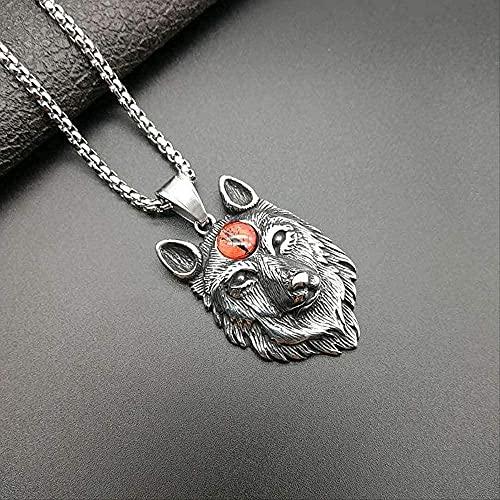 NC198 Collar con Colgante de Cabeza de Lobo sólido de Color Plateado de Acero Inoxidable, Collares de Hip Hop/Rock para Hombres, joyería de diseño Animal