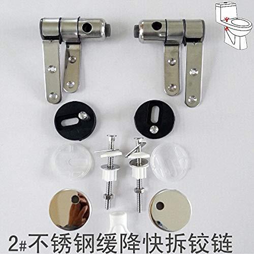 Wc-brillen scharnier 304 roestvrij stalen fittingen wc-brillen te dekken massief hout hars gouden zilveren scharnierbeslagen Qitao (Color : Silver B)