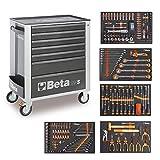 Beta Easy C24S - Carro de herramientas con 7 cajones y 295 herramientas (gris)