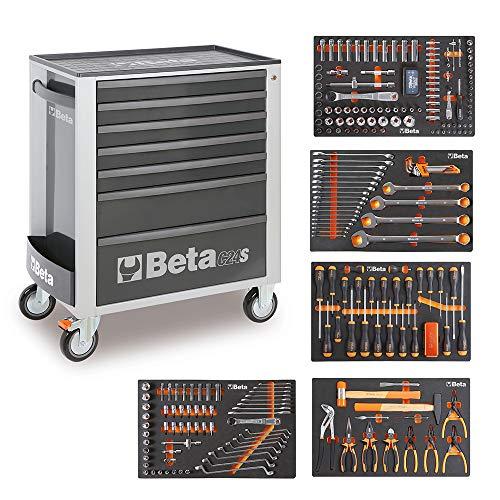 Beta Easy Werkzeugwagen C24S mit 7 Schubladen und 295-teiligem Werkzeugsortiment (Grau)