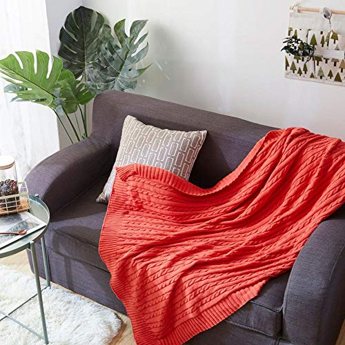 WANGZHEN Decken wirft große Baumwolle Neue gestrickte Decke Linie Decke dicken Twist Twist klimatisierten Raum Sofa Cover Decke Decke wirft für Sofas-Orange_180 * 200