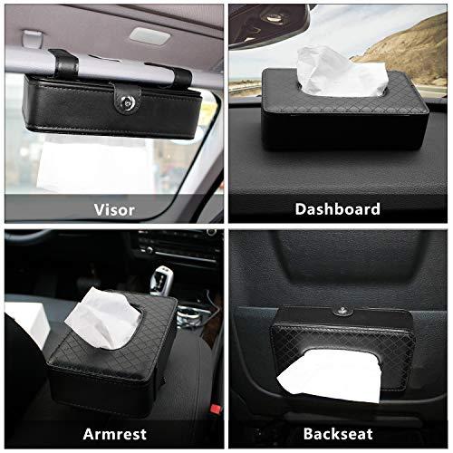 Maryya Car Tissue Holder, Car Sun Visor Napkin Holder, Hanging Paper Towel Clip, Tissue Paper Holder Dispenser, Napkin Tissue Tray Container, PU Leather Backseat Tissue Paper Box for Car, Black