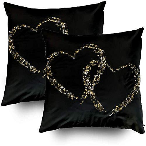 Tedtte Cusion Covers 2er-Pack Kissenbezug aus Polyester Stern Herz als Sternbild Liebesexplosion Stilvolle Liebesgalaxie aus Fliegen 45 x 45 cm
