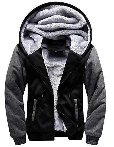 Little Beauty Men's Winter Thicken Fleece Sherpa Lined Zip Up Hoodie Heavyweight Jacket(M,Black-Grey)