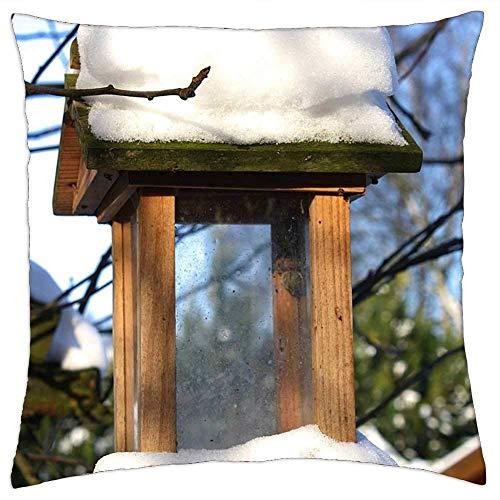 ETGeed Alimentador de pájaros, Invierno, Nieve, jardín, Naturaleza, Fundas de Almohada para Exteriores, cojín Decorativo para sofá, Cama, decoración del hogar, 18 x 18 Pulgadas