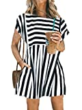 Aline Dress with Pockets,Women Black and White Striped Summer Vacation Beach Short Dresses,Black,L