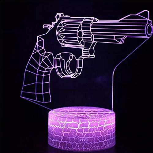 Cool armas armas de fuego luz nocturna luz de visión 3D luz LED multicolor acrílico multicolor luz nocturna decoración creativa lámpara de mesa pequeña