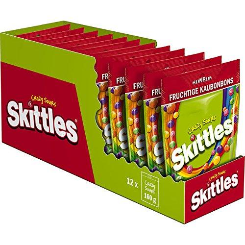 12 Beutel a 160g Skittles Crazy Sours aubonbons a 160g Kaudragees in knuspriger Zuckerhülle mit saurem Fruchtgeschmack