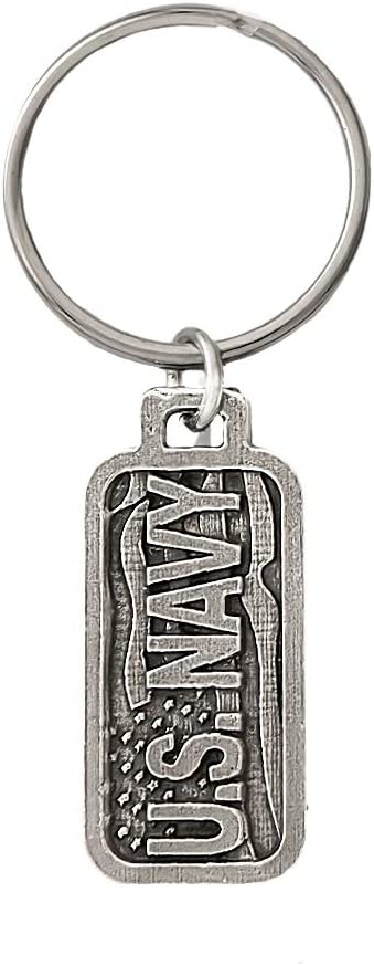 Creative Pewter Designs, Pewter US Navy Key Chain, Antiqued Finish, A1006KC