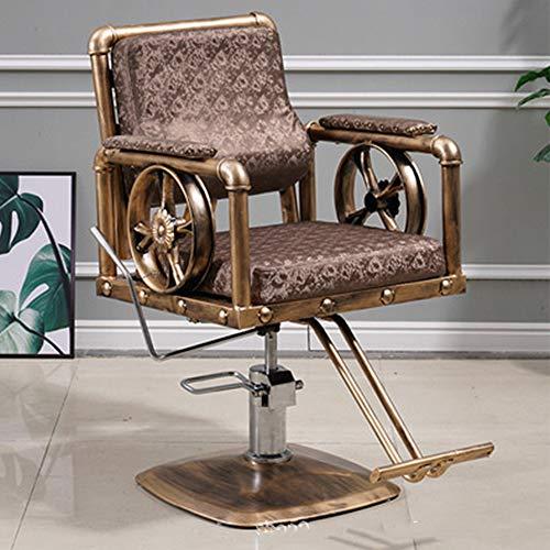 DNNAL Barber Shop Presidente, Multifunción hidráulica reclinable Silla de Peluquero, Respaldo Silla Especial Hair Salon,Amarillo