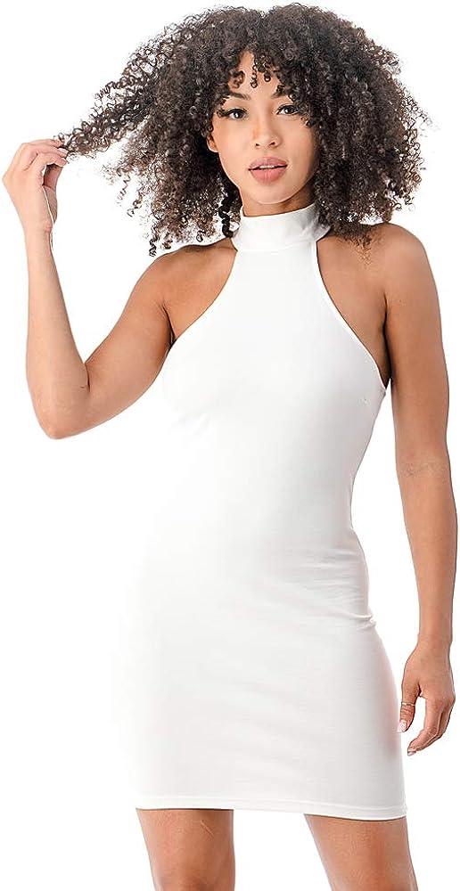 Nightie Womens Sexy Halter Mock Neck Elegant Sleeveless Bodycon Evening Night Life Mini Club Dress