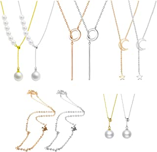 10pcs Handmade Alloy Necklace Faux Pearl Choker Moon Star Simple Dangle Opal Heart Y Adjustable Geometric Pattern Pendant Drops Vintage Punk Style Jewelry Dainty for Girls, Gold/Silver