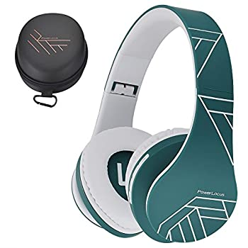 PowerLocus Bluetooth Over-Ear Headphones Wireless Stereo Foldable Headphones Wireless and Wired Headsets with Built-in Mic Micro SD/TF FM for iPhone/Samsung/iPad/PC  Blue/White