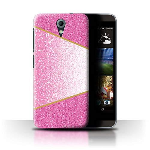Hülle Für HTC Desire 620G Glitter Muster Effekt Rosa Geometrisch Design Transparent Ultra Dünn Klar Hart Schutz Handyhülle Hülle