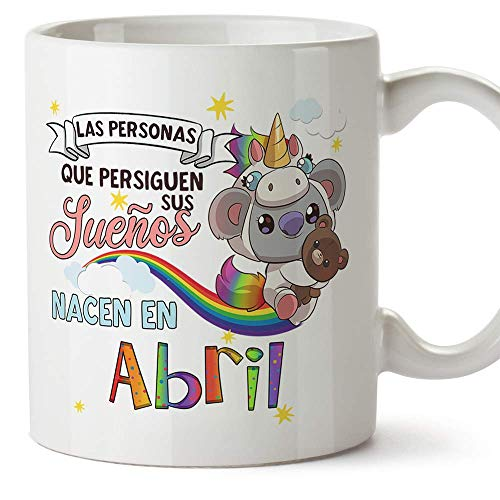 MUGFFINS Taza de Cumpleaños Koala mes de Abril - Regalos Desayuno Feliz Cumpleaños/Aniversario. Cerámica 350 mL