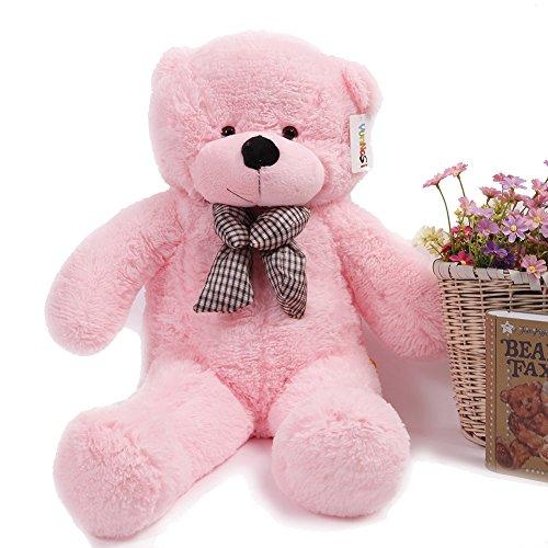 YunNasi Géant Peluche Teddy Bear Nounours Ours Bébé Enfant Fille Femme Jouet Doux Grands Pattes Cadeau pour la Fête de Noël Toussaint Anniversaire(120cm, Rose)